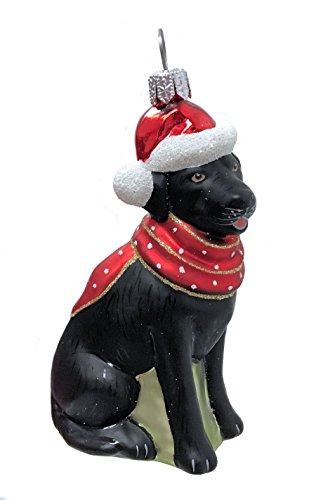 Pinnacle Peak Trading Company Black Labrador Retriever with Hat and Scarf Dog Polish Glass Christmas Ornament