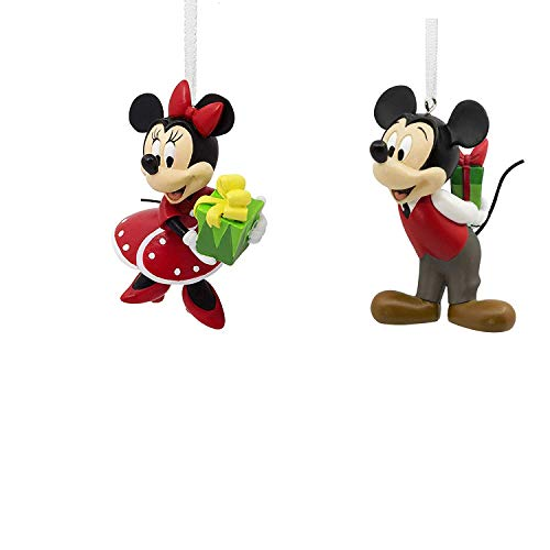 2018 Hallmark Disney Mickey & Minnie Mouse Gift Exchange Christmas Ornament Set of 2