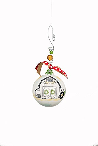 Glory Haus 20100129 4 x 4 Barn & Tractor Ball Ornament, Multicolor
