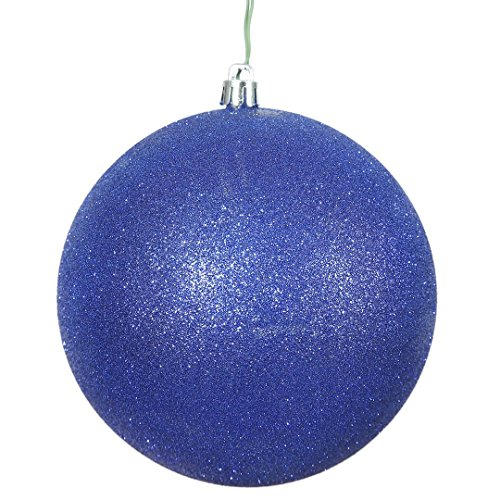 Vickerman N591022DG Glitter Ball Ornaments with Shatterproof UV Resistant, Pre-drilled Cap Secured & 6″ of Green Floral Wire in 6 per Bag, 4″, Cobalt Blue