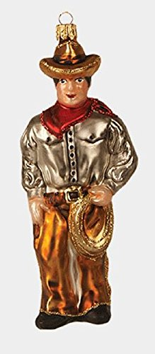 Pinnacle Peak Trading Company Western Cowboy with Lasso Polish Glass Christmas Tree Ornament Decoration