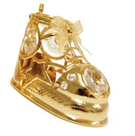 24k Gold Plated Baby Shoe Ornament w/Clear Swarovski Element Crystal