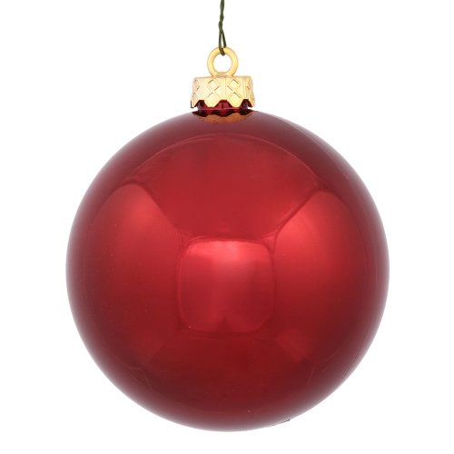Vickerman Shiny Finish Seamless Shatterproof Christmas Ball Ornament, UV Resistant with Drilled Cap, 4 per Bag, 4.75″, Burgundy