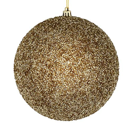 Vickerman 531501-4″ Champagne Beaded Ball Christmas Tree Ornament (6 pack) (N185638D)