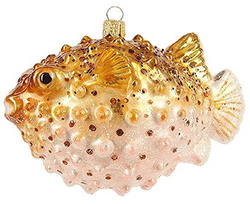 Pinnacle Peak Trading Company Puffer Fish Polish Glass Christmas Tree Ornament Decoration Sea Life Pufferfish