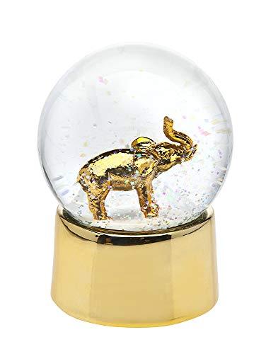 Philip Whitney Snow Globe Gold Elephant Small