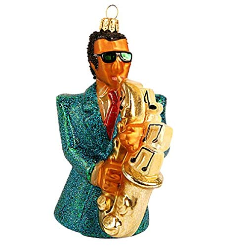 Pinnacle Peak Trading Company Saxophonist Polish Glass Christmas Ornament Jazz Musician Saxophone Decoration
