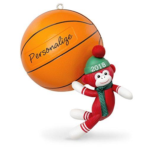 Hallmark Keepsake Personalized Christmas Ornament 2018 Year Dated, Basketball Star Sock Monkey