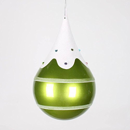 Vickerman 7″ Lime, Snow, and Jewel Candy Finish Teardrop Christmas Ornament