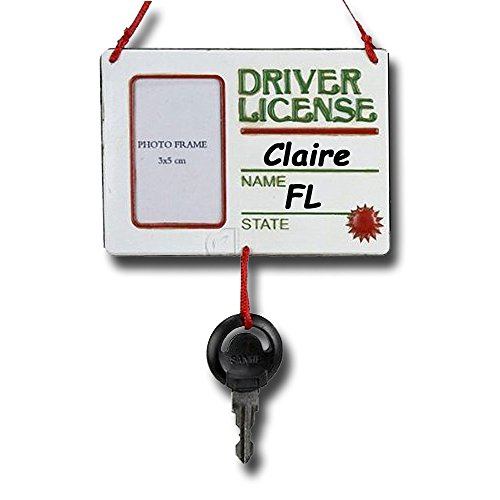 Personalized Driver License Picture Frame with Key Christmas Ornament