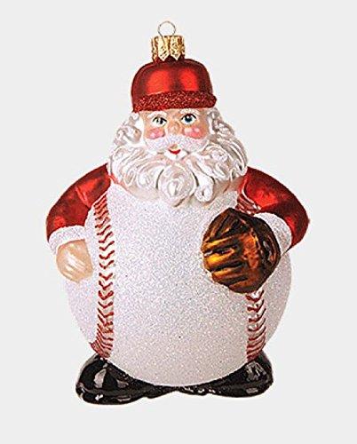 Pinnacle Peak Trading Company Baseball Body Santa Claus Polish Glass Christmas Tree Ornament Sports Decoration