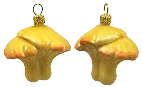 Pinnacle Peak Trading Company Yellow Mushrooms Polish Glass Christmas Tree Ornament Fungus Holiday Decoration