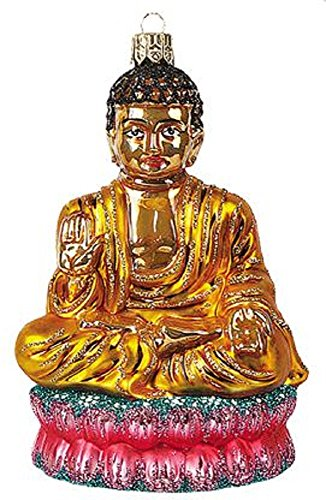 Pinnacle Peak Trading Company Seated Buddha Polish Glass Christmas Tree Ornament Religious Buddhism Decoration