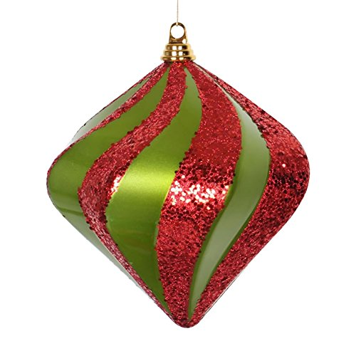 Vickerman 10″ Lime and Red Candy and Glitter Finish Swirl Diamond Christmas Ornament