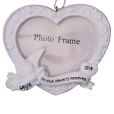 in Our Hearts Forever Memorial Photo Frame – (Unique Christmas Tree Ornament – Classic Decor for A Holiday Party – Custom Decorations for Family Kids Baby Military Sports Or Pets)