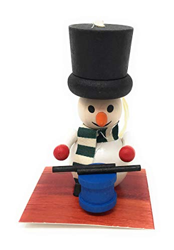 Steinbach Snowman Drummer Black Top Hat Wood Christmas Ornament
