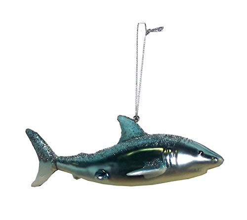 One Hundred 80 Degrees Glitter Encrusted Shark Hanging Tree Ornament