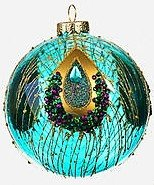 4″ Peacock Glass Ball Ornament by One Hundred 80 Degrees (blue)