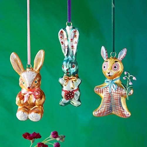 Glitterville Bunny Rabbit Glass Ornaments Set of 3 Nathalie LÉTÉ Collection New