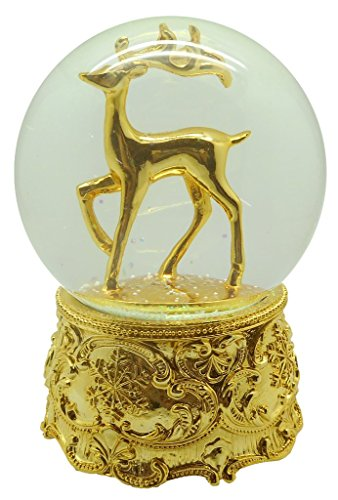 Lightahead Musical Christmas Reindeer in 100MM Snow Globe with Iron Base and Rotating Playing Music, Falling Snowflakes in Poly Resin (Gold)