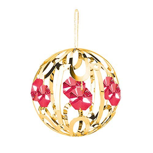 24k Gold Large Crystal Ball – Red Swarovski Crystal