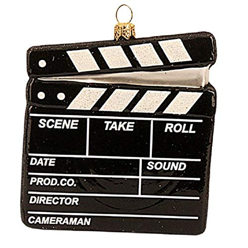 Pinnacle Peak Trading Company Clapperboard Polish Glass Christmas Ornament Movies Film Director Art Hollywood