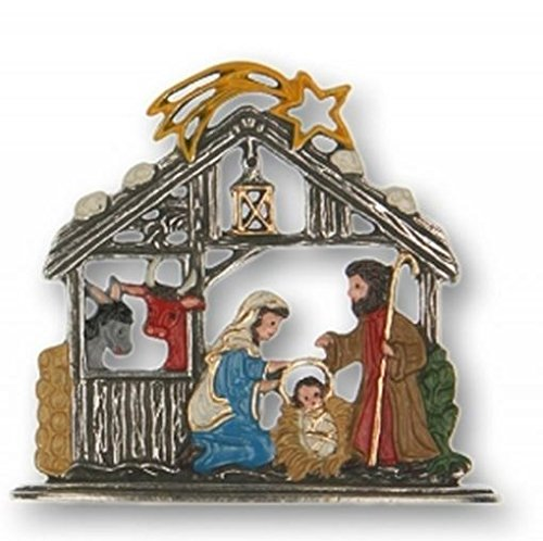 Pinnacle Peak Trading Company Nativity with Ox and Donkey German Pewter Christmas Display Small Decoration