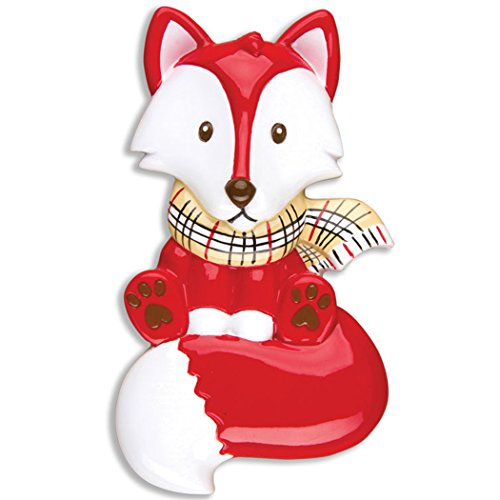 Personalized Red Fox Christmas Ornament – Cute Baby Fox with Winter Tartan Scarf – Fun Holiday Grand-Son Daughter Love Kid Friend Baby First 1st Nursery Second 2nd Theme – Free Customization
