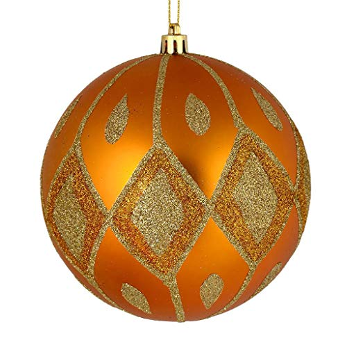 Vickerman 528716-4″ Antique Gold Matte Glitter Diamond Ball Christmas Tree Ornament (4 pack) (N188030D)