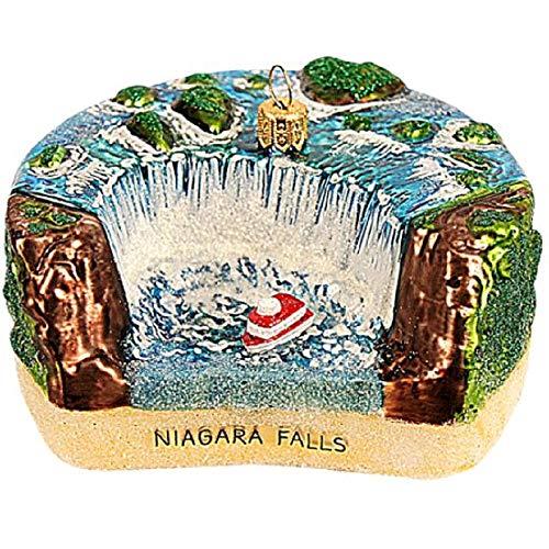 Pinnacle Peak Trading Company Niagara Falls Polish Glass Christmas Tree Ornament Travel Landmark Decoration
