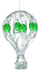 Chrome Hot Air Balloon Ornament – Emerald Green Color Swarovski Crystal