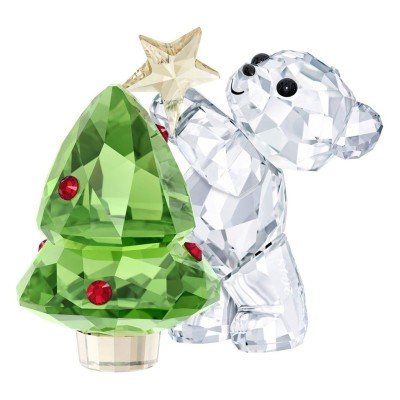 Swarovski Kris Bear-Christmas, A. E. 2018, Clear Crystal, Green and red