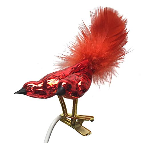 Pinnacle Peak Trading Company Two Red Cardinal Birds with Feather Tail Czech Glass Christmas Clip On Ornament
