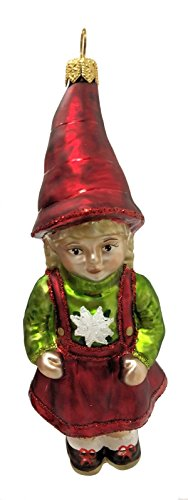 Pinnacle Peak Trading Company German Alpine Girl with Edelweiss Sweater Polish Glass Christmas Tree Ornament