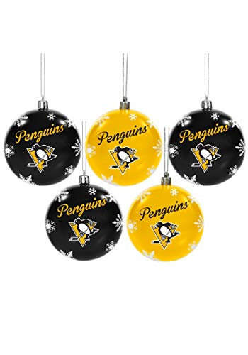 Forever Collectibles Pittsburgh Penguins 5 Pack Shatterproof Ball Ornament Set Standard