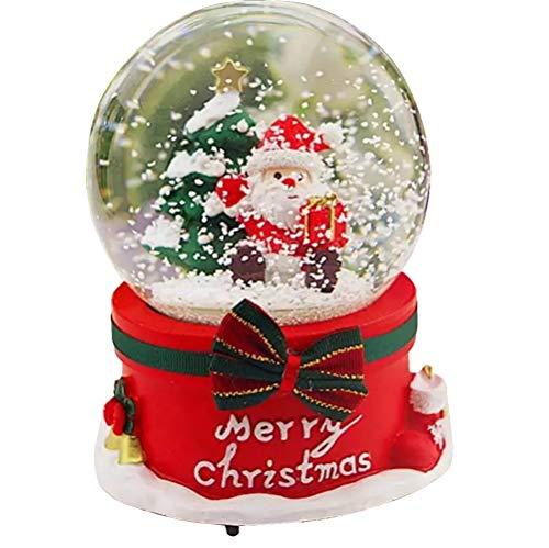 Veigu Night Light Water Globe Snow Globe Crystal Ball Christmas Music Box Gift Resin Base (Christmas)