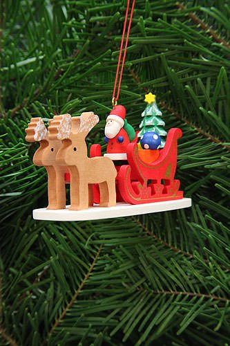 Tree ornament Santa Claus in reindeer sleigh – 9,7cm / 3.8inch