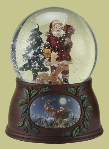 5″ 100mm Santa With Deer Dome Revolving W/Wood Look Base Plays Here Comes Santa Claus by Roman