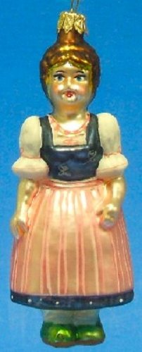 Pinnacle Peak Trading Company Bavarian Lady in Dirndl German Glass Christmas Tree Ornament Made in Germany