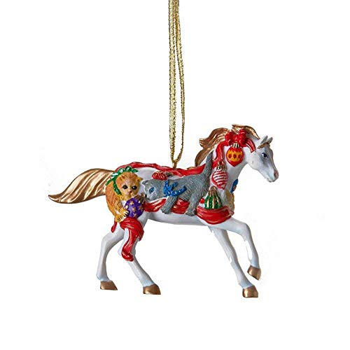 Trail of Painted Ponies Holiday 2009. Christmas Kittens 2.5″ Hand-Painted Resin Hanging Ornament in Tin