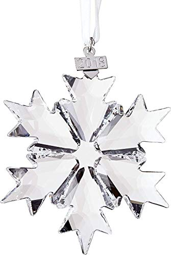 Swarovski Christmas Ornament 2018 Annual Edition Crystal Snowflake Ornament – Large Size – With White Ribbon , Beautiful Crystal Ornaments For Your Holiday Tree