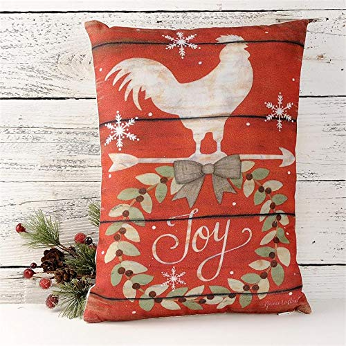 Blossom Bucket Country Christmas Holiday Pillow – Joy with Rooster Country Christmas Holiday Prim Decor 14 x 10