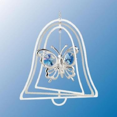 Chrome Plated Butterfly Bell Ornament – Blue – Swarovski Crystal