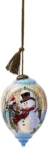 Ne'Qwa Art Hand Painted Blown Glass Christmas Greetings Snowman Ornament
