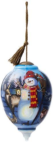 Ne'Qwa Art Hand Painted Blown Glass Woodland Winter Friends Ornament, Snowman