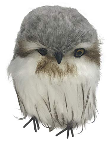 180 Degrees Chubby Owl Faux Fur Figurine JA0054 7 Inches (Grey)