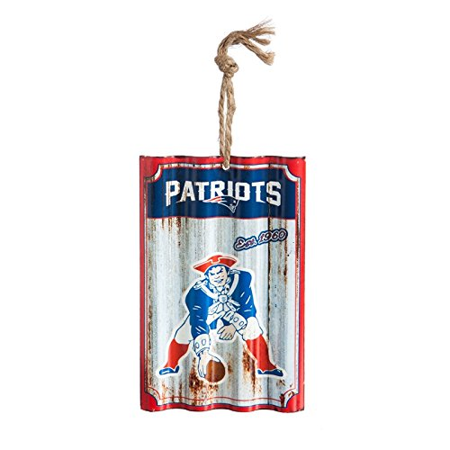 Team Sports America New England Patriots, Metal Corrugate Ornament, Set of 4