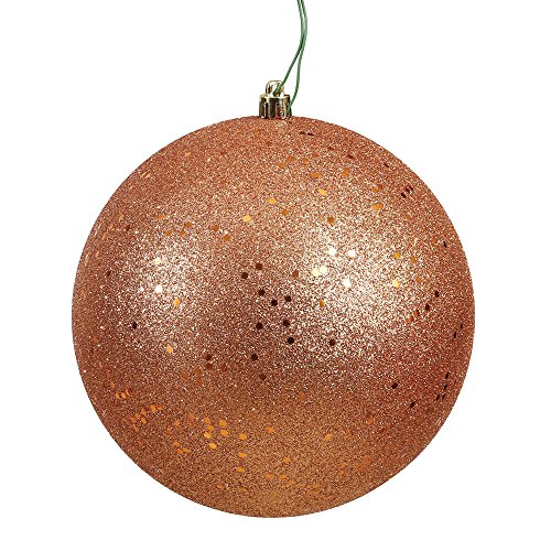 Vickerman N592058DQ Sequin Ball Ornament with Shatterproof & UV Resistant, Pre-drilled Cap Secured & 6″ of Green Floral Wire, 8″, Rose Gold