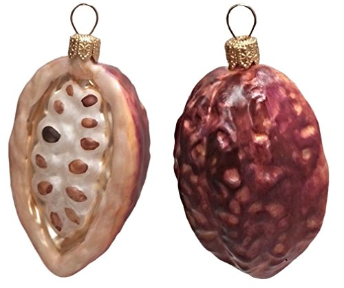 Pinnacle Peak Trading Company Cocoa Beans Polish Blown Glass Christmas Ornament Set of 2 Holiday Decorations
