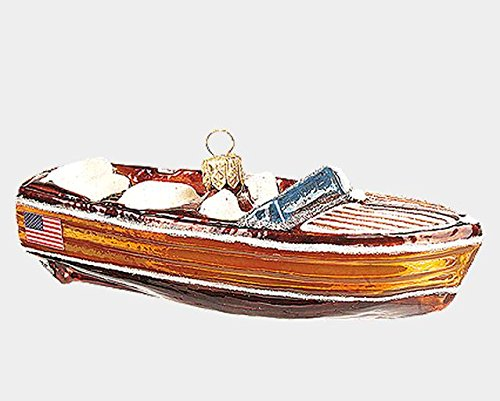Pinnacle Peak Trading Company Vintage Mahogany Boat Polish Mouth Blown Glass Christmas Ornament Decoration